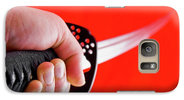 Galaxy Case featuring the photograph Hand Holding Japanese Sword - Katana by Yurix Sardinelly