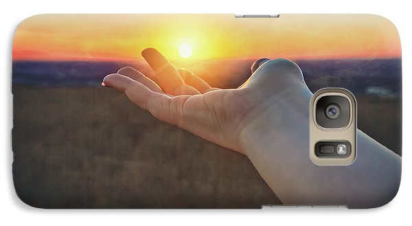 Galaxy Case featuring the photograph Hand Holding Sun - Sunset At Lapham Peak - Wisconsin by Jennifer Rondinelli Reilly - Fine Art Photography