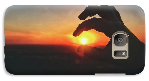 Galaxy Case featuring the photograph Hand Silhouette Around Sun - Sunset At Lapham Peak - Wisconsin by Jennifer Rondinelli Reilly - Fine Art Photography