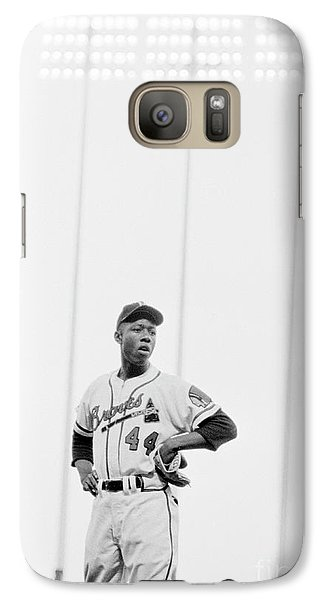 Hank Aaron On The Field, 1958 Galaxy S7 Case by The Harrington Collection