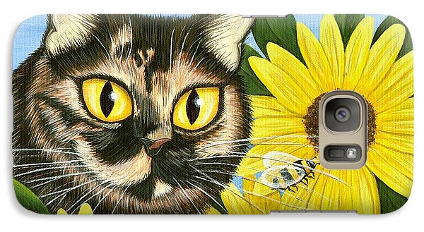 Galaxy Case featuring the painting Hannah Tortoiseshell Cat Sunflowers by Carrie Hawks