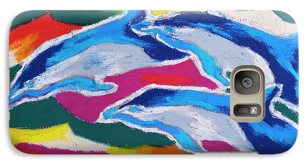 Galaxy Case featuring the painting Happy Dolphin Dance by Stephen Anderson