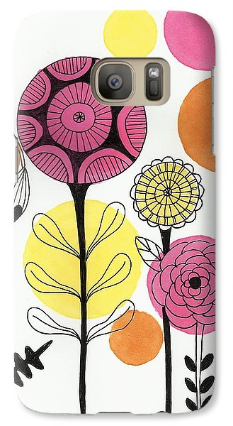 Galaxy Case featuring the mixed media Happy Flowers by Lisa Noneman