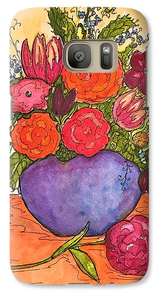 Galaxy Case featuring the painting Happy Flowers by Rae Chichilnitsky