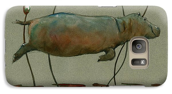 Happy Hippo Swimming Galaxy Case by Juan  Bosco