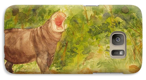 Galaxy Case featuring the painting Happy Hippo by Vicki  Housel