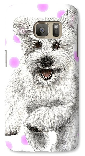 Galaxy Case featuring the drawing Happy Pink Polka Dots Doggy  by Heidi Kriel