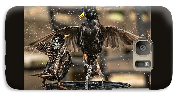 Galaxy Case featuring the photograph Happy Starlings by Jim Moore