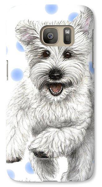 Galaxy Case featuring the drawing Happy Blue Polka Dots Doggy by Heidi Kriel