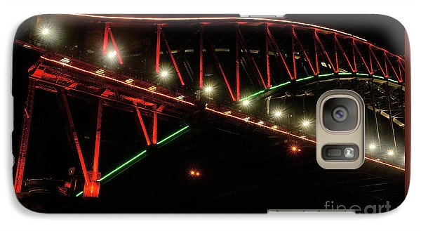 Galaxy Case featuring the photograph Harbor Bridge Green And Red By Kaye Menner by Kaye Menner