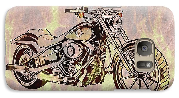 Galaxy Case featuring the mixed media Harley Motorcycle On Flames by Dan Sproul