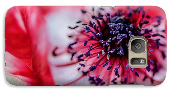 Galaxy Case featuring the photograph Harmony Scarlet Poppy Anemone by Julie Palencia