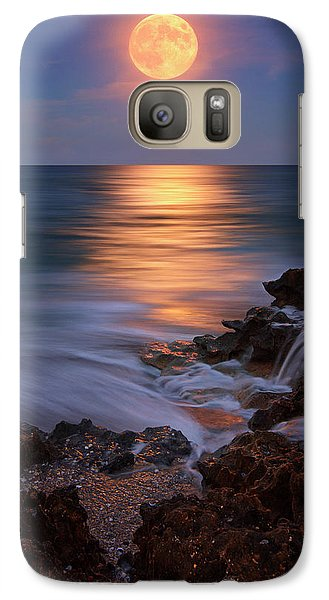 Galaxy Case featuring the photograph Harvest Moon Rising Over Beach Rocks On Hutchinson Island Florida During Twilight. by Justin Kelefas