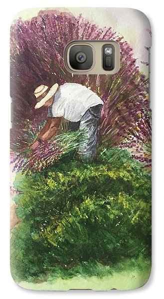 Galaxy Case featuring the painting Harvesting Lavender by Lucia Grilletto