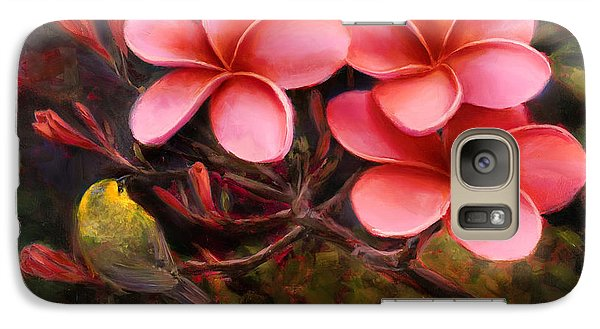 Galaxy Case featuring the painting Hawaiian Pink Plumeria And Amakihi Bird by Karen Whitworth