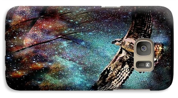 Galaxy Case featuring the mixed media Hawk At Night by YoMamaBird Rhonda