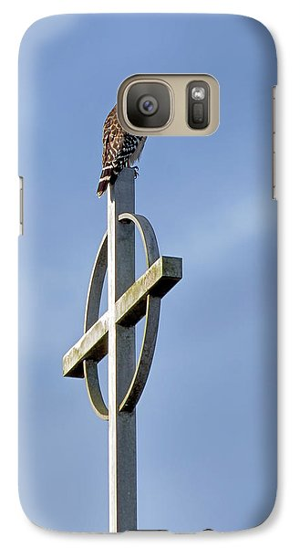 Galaxy Case featuring the photograph Hawk On Steeple by Richard Rizzo