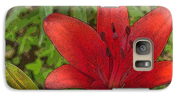 Galaxy Case featuring the digital art Hazelle's Red Lily by Jana Russon