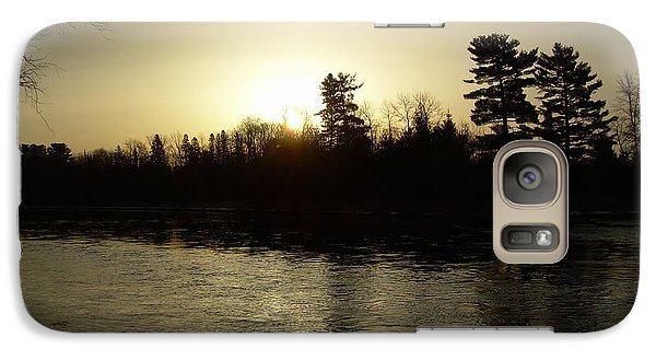 Galaxy Case featuring the photograph Hazy Mississippi River Sunrise by Kent Lorentzen