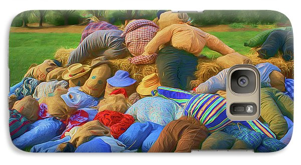 Galaxy Case featuring the photograph Heap Of Scarecrows by Nikolyn McDonald