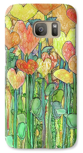 Galaxy Case featuring the mixed media Heart Bloomies 1 - Golden by Carol Cavalaris