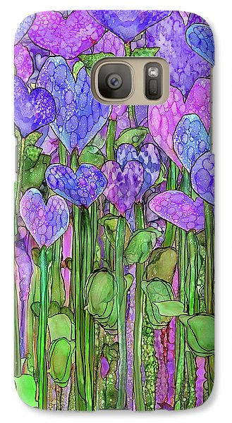Galaxy Case featuring the mixed media Heart Bloomies 1 - Purple by Carol Cavalaris