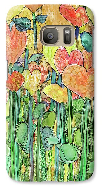 Galaxy Case featuring the mixed media Heart Bloomies 2 - Golden by Carol Cavalaris