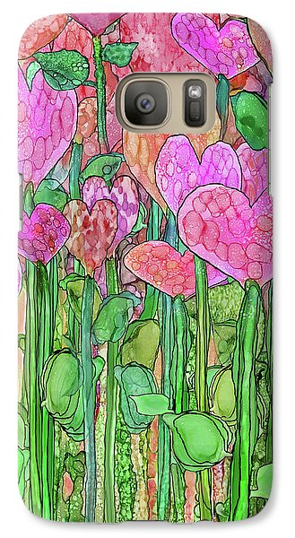 Galaxy Case featuring the mixed media Heart Bloomies 2 - Pink And Red by Carol Cavalaris