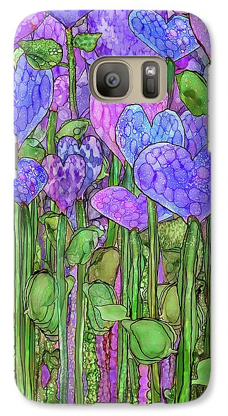Galaxy Case featuring the mixed media Heart Bloomies 2 - Purple by Carol Cavalaris
