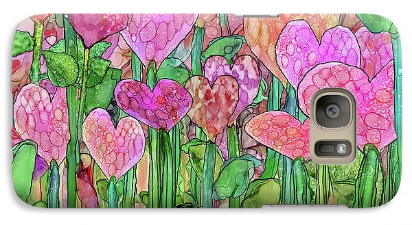 Galaxy Case featuring the mixed media Heart Bloomies 3 - Pink And Red by Carol Cavalaris