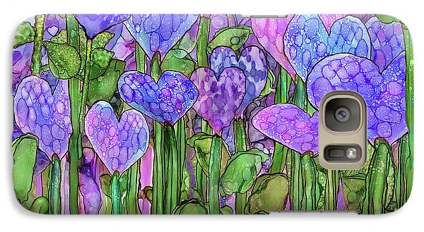 Galaxy Case featuring the mixed media Heart Bloomies 3 - Purple by Carol Cavalaris
