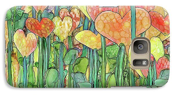 Galaxy Case featuring the mixed media Heart Bloomies 4 - Golden by Carol Cavalaris