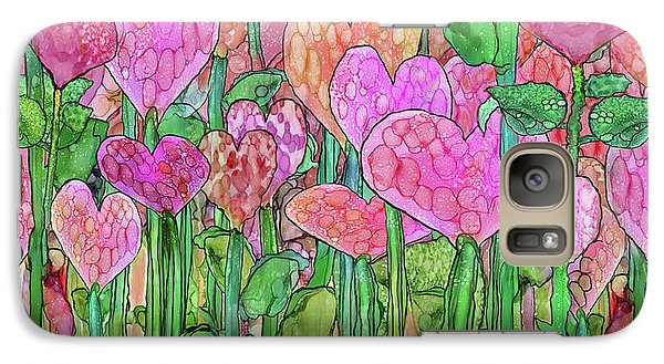Galaxy Case featuring the mixed media Heart Bloomies 4 - Pink And Red by Carol Cavalaris