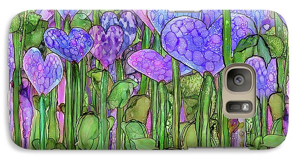 Galaxy Case featuring the mixed media Heart Bloomies 4 - Purple by Carol Cavalaris