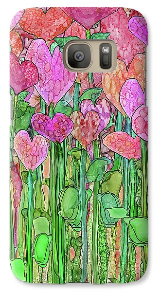 Galaxy Case featuring the mixed media Heart Bloomies 1 - Pink And Red by Carol Cavalaris