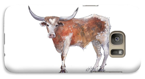 Cow Galaxy S7 Case - Heart Of Texas Longhorn by Kathleen McElwaine