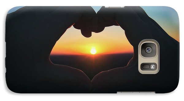 Galaxy Case featuring the photograph Heart Shaped Hand Silhouette - Sunset At Lapham Peak - Wisconsin by Jennifer Rondinelli Reilly - Fine Art Photography