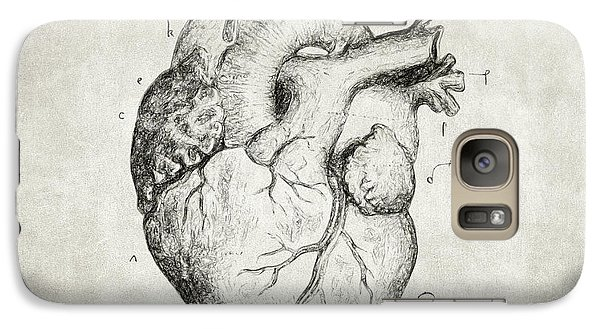 Galaxy Case featuring the drawing Heart by Taylan Apukovska