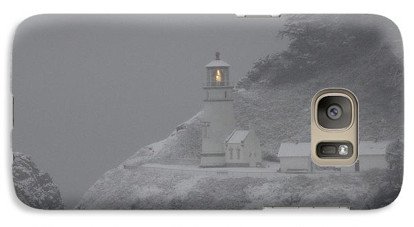 Galaxy Case featuring the photograph Heceta Lighthouse Snowstorm by Kenny Henson