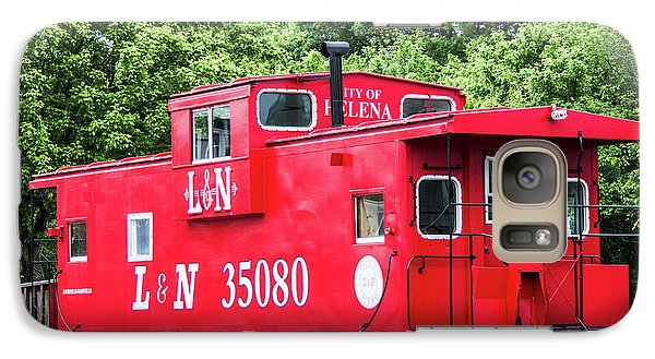 Galaxy Case featuring the photograph Helena Red Caboose by Parker Cunningham
