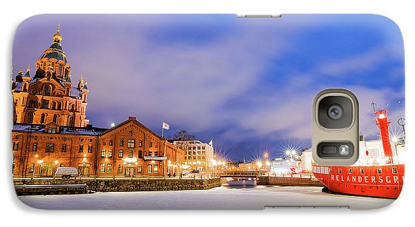 Galaxy Case featuring the photograph Helsinki By Night by Delphimages Photo Creations