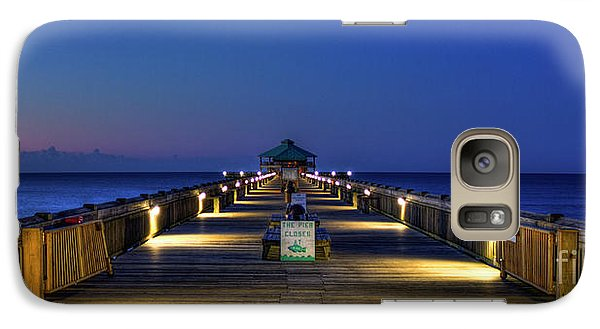 Galaxy Case featuring the photograph Here It Comes Now Folly Beach Pier Sunrise Art by Reid Callaway