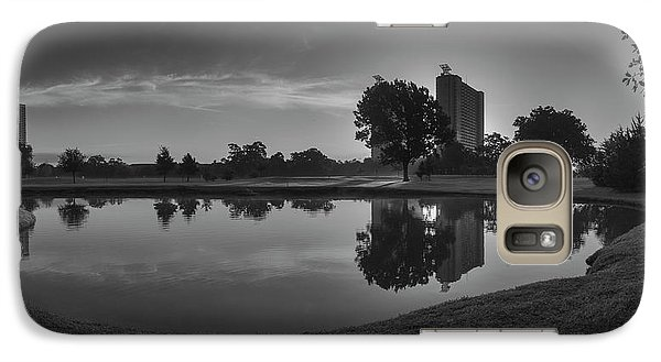 Galaxy Case featuring the photograph Hermann Park Sunrise Black And White by Joshua House