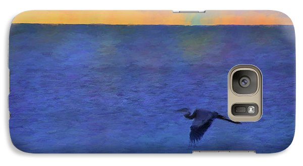Galaxy Case featuring the photograph Heron Across The Sea by Jan Amiss Photography