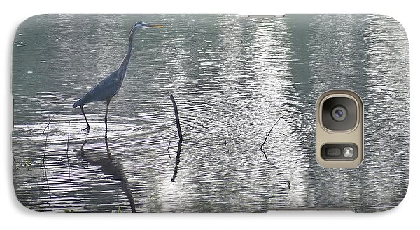 Galaxy Case featuring the photograph Heron In Pastel Waters by Skip Willits