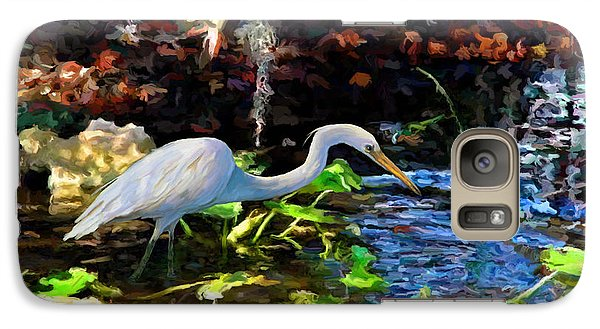 Galaxy Case featuring the painting Heron In Quiet Pool by David  Van Hulst