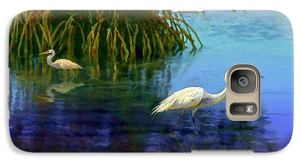 Galaxy Case featuring the painting Herons In Mangroves by David  Van Hulst