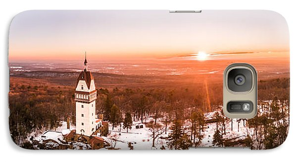 Galaxy Case featuring the photograph Heublein Tower In Simsbury Connecticut, Winter Sunrise Panorama by Petr Hejl