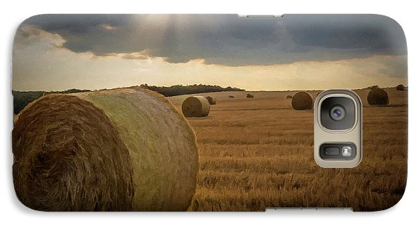 Galaxy Case featuring the photograph Hey Bales And Sun Rays by David Dehner