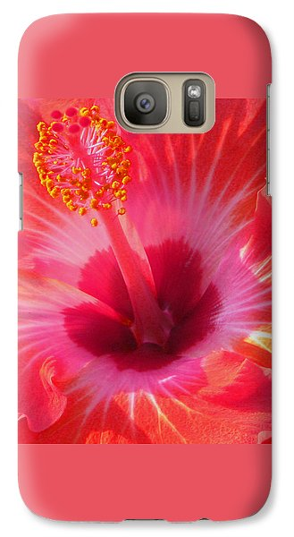 Galaxy Case featuring the photograph Hibiscus - Coral And Pink Square by Kerri Ligatich
